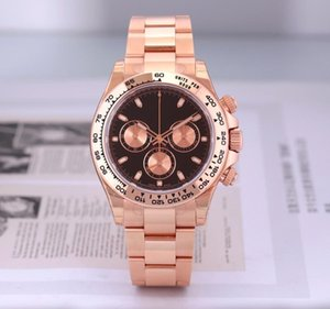 High quality Asian watch 2813 automatic mechanical men's watch 116505 40mm black dial 18k rose gold stainless steel strap folding buckle