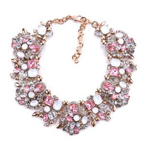 Mode Kristall Strass Blumen & Bettelhals Statement-Kragen-Halskette Frauen Schmuck Geschenk