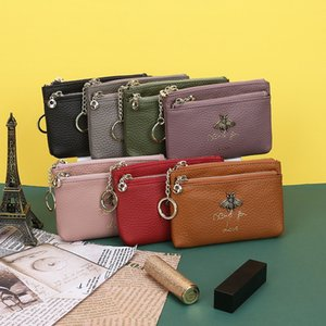 Top layer cowhide Little Bee Lady wallet zipper zipper genuine leather coin purse genuine key ring bag mini coin bag