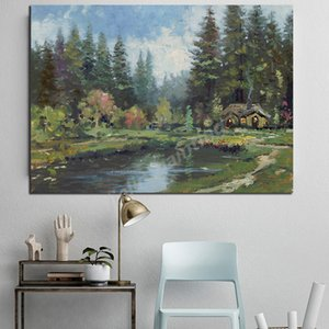 Forest Lake Grass House Poster Thomas Kinkade Light Poster Painting On Canvas Bedroom Wall Art Decoration Pictures Home Decor