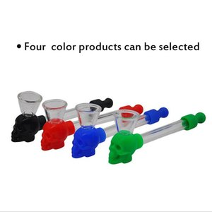 Newest multiple Colors Silicone Skull Glass Pipe Hand Tobacco Cigarette Smoking Tube Water Pipes with Screen Mesh