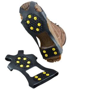 Гололед Цанги Cleat Более обувь 10 Сталь Шпильки Ice Бутсы резиновые сапоги Шипы против скольжения лыжи Gripper ледолазанию обувь YFA2205