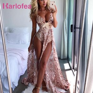 Karlofea Sexy Low Deep V Neck Shiny Sequin Long Dress For Ladies Evening Party Vestidos High Split Floor-Length Birthday Dresses