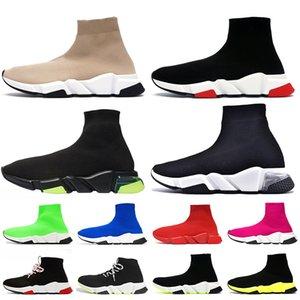 2020 Speed Trainer Mens Sock Shoes Beige Black Red Luxury Clearsole Women Men Casual Shoes tripler vintage étoile designer sock sneakers