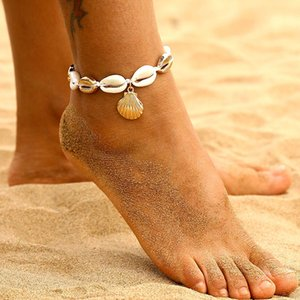 IParam Mujer Shell Charm Beach Oro de la vendimia de la geometría de las lentejuelas pulsera tobillera 2019 joyería al por mayor de Boho del pie