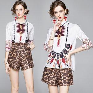 부티크 여성 세트 셔츠 + 바지 2/3 슬리브 인쇄 된 소녀 여름 가을 두 조각 세트 하이 엔드 패션 레이디 Blous 바지 정장