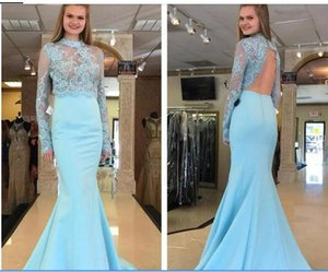 Light Sky Blue Two Pieces Long Homecoming Dresses Jewel Neck Hollow Back Top Lace Evening Party Gown Sweep Train Satin Prom Dress