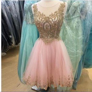 Pink Short Prom Party Dresses Homecoming Gown A Line Sheer Neck Appliqued Lace Tulle Pleats Beads Crystals Party Cocktail