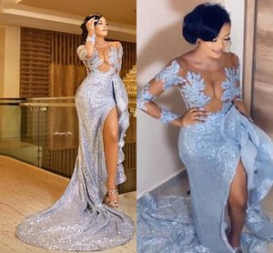 Aso Ebi Sequined Prom Dresses With Sheer Neckline Lace Appliques Side Split Illusion Full Sleeves Mermaid Evening Dress African Vestidos