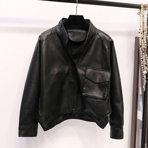 New Black Leather Jacket Vintage Coat Women Long Sleeve Winter Trench Coats Streetwear Faux Leather Windbreaker Red Fall 2020