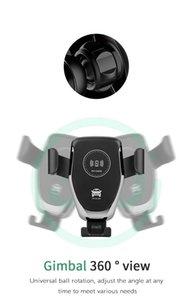 10W Qi Q12 Fast Charge mobile Cellulare Bluetooth per auto Mount caricatore supporto del telefono del nero di 360 rotazioni