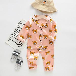 Erkekler Kızlar Tasarımcı Karikatür Bear Ev Giyim Çocuk pijamaları Çocuk İki Parçalı Set Uzun kollu Suit Çocuk Ev Giyim Perakende ayarlar