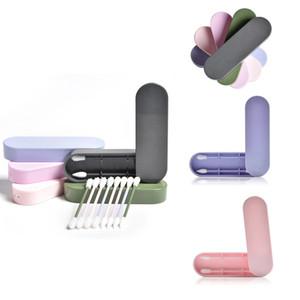 2PCS / صندوق قابلة لإعادة الاستخدام القطن المسحة الأذن تنظيف سيليكون قابل للغسل مسحات ماكياج العصي لينة مرنة المكياج مجموعة أدوات