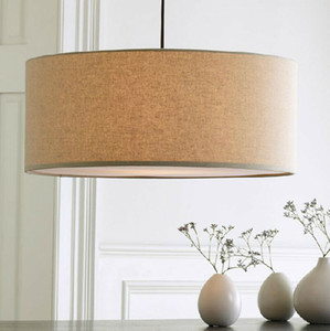 Modern Contemporary Fabric Drum Shade Pendant Lamp Living Room Dining Room Bedroom Chandelier Ceiling Light Fixture PA0532