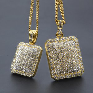Mens Gold Cuban Link Chain Fashion Hip Hop Jewelry with Full Rhinestone Bling Bling Diamond Dog Tag Iced Out Pendant Necklaces 2020