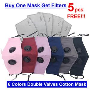 5 PCS Activated PM2,5 Carbon Free Filtres avec un masque de coton coloré adulte Masque Masque coloré Valve DHL Livraison gratuite