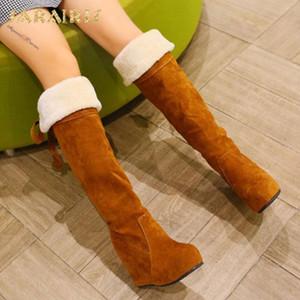 SARAIRIS Brand New Plus Size 43 Plattform Innen Wedges High Heels warm halten Plüsch Russland Winter-Frauen-Schuhe Schneestiefel
