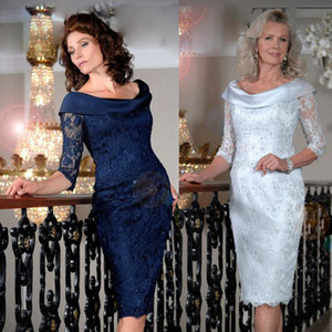 Elegant Mother of the Bride Dresses Lace Appliques Evening Gowns Custom Made Short Sleeves Knee-Length Wedding Guest Dress