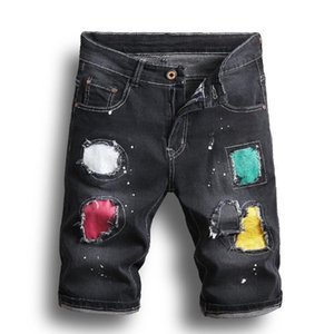 Mens New Fashion Leisure Ripped Short Jeans Clothing Summer Shorts Hole Splash Ink Denim Shorts Jeans Male Trousers
