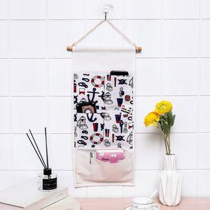 Mediterranean 5 pockets multi-layer storage bag cotton linen hanging bag wall storage home decoration door hanging
