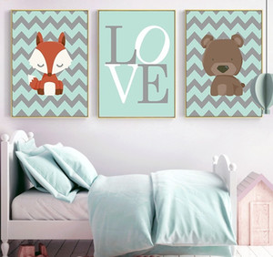 3 Panels Cartoon Animal Oil Painting Nordic Cute Posters & Prints Wall Art Picture for Children Sweet Room Decor Modern Wall Decoration