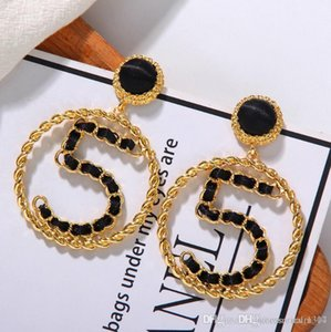 2020 hot fashion trendy creative digital earrings female Korean new tide temperament big circle black ribbon earrings