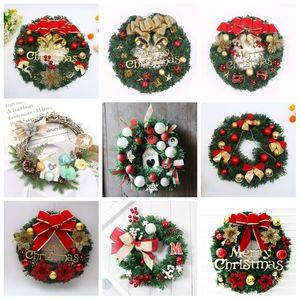 Grinalda do Natal Artificial planta Rattan Círculo Decoração Wall Simulação falsificação flor Pendurar Porta Wreath Para Casa AHF520