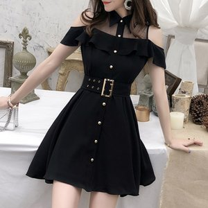 2020 New Women Summer Single Breasted Shirt Style Dress Sweet Black Turn-down Collar Mini Short Chic Dresses With Belt Vestidos CX200708