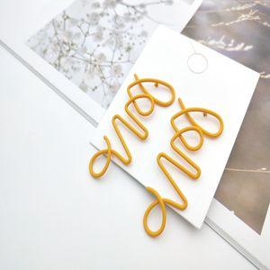 UJBOX Korean Creative Love Earrings Women Yellow Green Red Wine Dangle Earrings female Metal Spray Paint Wedding gift