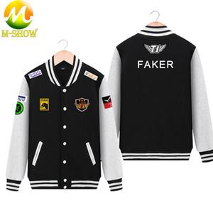 Camisa t1 faker Skt Jacket Brasão Faker Men Hoodies Equipe skt jogo Uniforme Zipper Cotton Lobo bang LOL Jersey T200718
