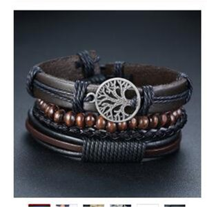 3Pcs  Set Braided Wrap Leather Bracelets for Men Vintage Life Tree Rudder Charm Wood Beads Ethnic Tribal Wristbands men bracelet