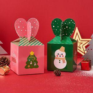Papier Weihnachtsabend Apple-Box Weihnachtsmann-Weihnachtsbaum-Muster scherzt Süßigkeit Dessert Halter Geschenk-Verpackung Partyangebot