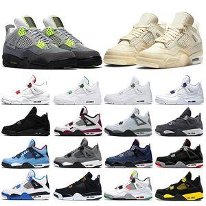 Nike Air Jordan 4 Retro Serin Gri Erkekler Basketbol Ayakkabı OG 2019 Için Dövme Tekler Gün Raptors Mens Tasarımcı Eğitmen Spor Sneakers Boyutu 41-47