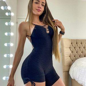 La nouvelle femme Body Jacquard Cutout Suspenders Sculpting Jumpsuit Courir Fitness lift Hip Elasticité Bodys Vêtements de sport