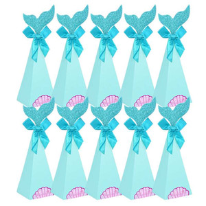 Beautiful Mermaid Theme Party Supplies Mermaid Tail Cookie Bags DIY Kids Favor Candy Boxes Popcorn Gift Bag Wedding Decor