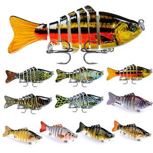 10PCS Lot Pêche Leurres 7 poissons Segment Crankbaits Basse Minnow manivelle multi Jointed Appâts Swimbait avec crochet Tackle