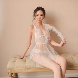 Novia atractiva ropa interior camisón atractivo malla tentación camisón gasa liga Suspender falda pijamas Sling pijamas falda