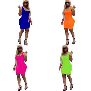 Katı Renk Elbise Kaşkorse Elbise Skinny Stil Moda Scoop Boyun Kadınlar Yaz Zengin Renk Sadelik Casual Pretty 22nw E2
