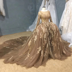 Real Image Luxury Champagne Ball Gown Wedding Dresses with Detachable Train Applique Lace Beaded Crystal Long Sleeve Bridal Gown