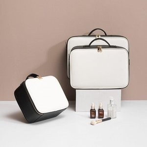 Leather Clapboard Cosmetic Bag Professional Make Up Case Large Capacity Storage Handbag Travel Insert Toiletry Makeup bag