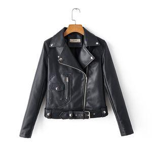 Autumn New Short Faux leather jacket With belt Women Fashion Plus size Chic Zipper Motorcycle Biker jacket Coat Female Outerwear