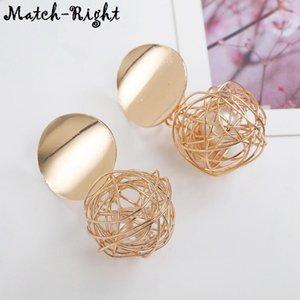 Geometric Woven Earrings for Women Metal Ball Drop Earring Pendant New Woman Jewelry Mujer Aretes Brincos De Mulheres LX009