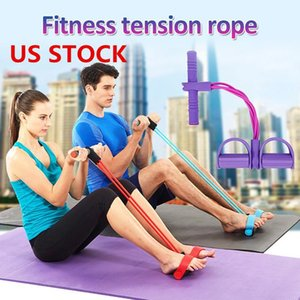US STOCK, Multi-Function Puller Pedals Elastic Rope Legs Expander Yoga Pilates Fitness Belt Slimming Tool Training Workout for Indoor FY7009