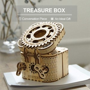 123pcs Creative DIY 3D Treasure Box Wooden Puzzle Game Assembly Toy Gift for Children Teens Adult owOx#