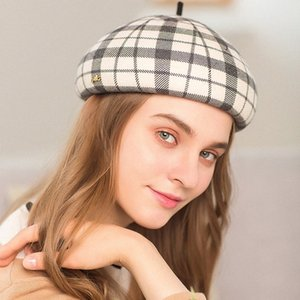 Lady Barett Hüte Weibliche Mode Plaid Stewardess Hut-Mädchen-Woll Dome Beret Caps Wolle Painter Hut Adjust Woll Painter Cap A101 zwGW #