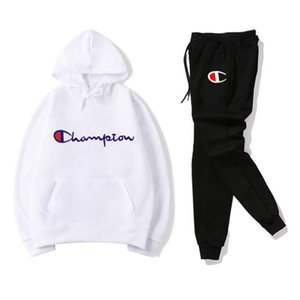 champion s Mens Tracksuit Designers Hoodies+pants 2 Piece Sets Solid Color Brand Outfit Suits 2019 High Quality Tracksuits for Mens