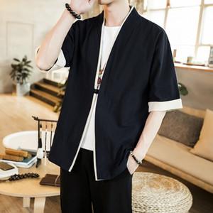 Homme Veste japonaise Streetwear Vintage Vêtements pour hommes Veste en lin chinois pour les hommes Vêtements pour hommes 2020 Kimono