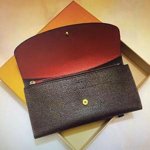 M60697 جلد المرأة المحفظة محفظة V طويل أضعاف محفظة جلدية كلاسيكي محافظ للفي الهواء الطلق حقيبة عملة أزياء السيدات الفاصل مستحضرات تجميل # 5565