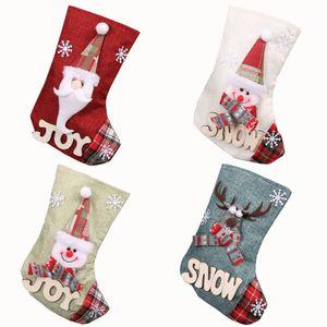 23*15cm Christmas Stocking Gift Bags Christmas Tree Ornament For Kids Candy Bag Stockings Prop Socks Xmas Decoration GGA2800