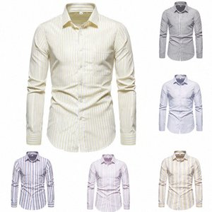 SZMXSS Shirts For Men Casual Slim Fit Striped Social Long Sleeve Clothing Business Dress Male Shirts Classic Button Tops 9Tk8#